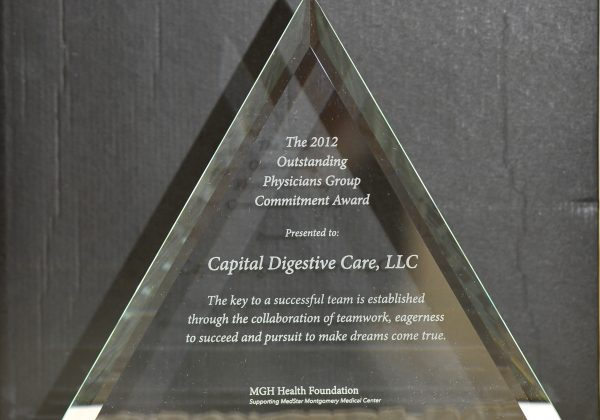 Capital Digestive Care 2012 Outstanding Physicians Group Commitment Award