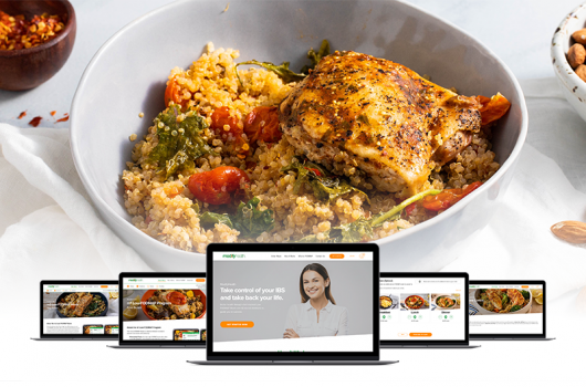 Roasted Chicken dish and modifyhealth screen on computer