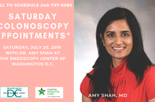 Saturday Colonoscopy Screening Days Poster featuring Amy Shah, MD