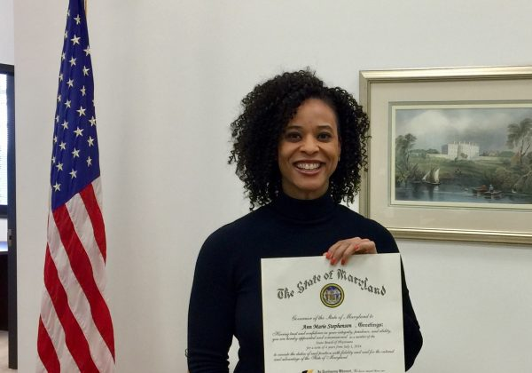 Dr. Ann Marie Stephenson with State Board of Physicians Certificate