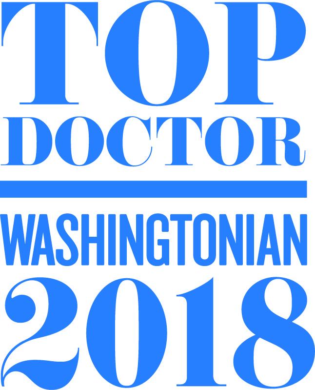 Graphic saying Top Doctor Washingtonian 2018