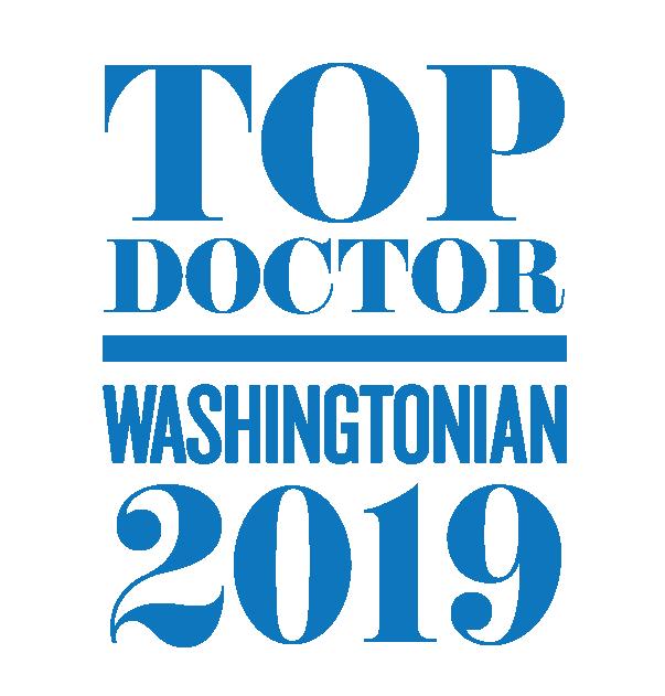 Graphic saying Top Doctor Washingtonian 2019