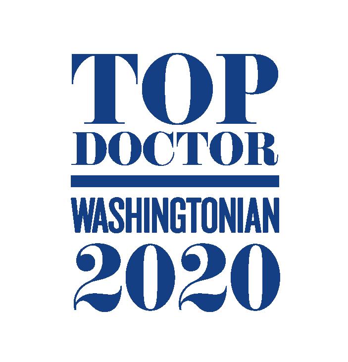 Graphic saying Top Doctor - Washingtonian 2020