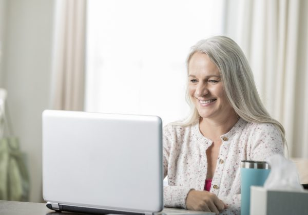 Woman experiencing a virtual Dr. Appointment