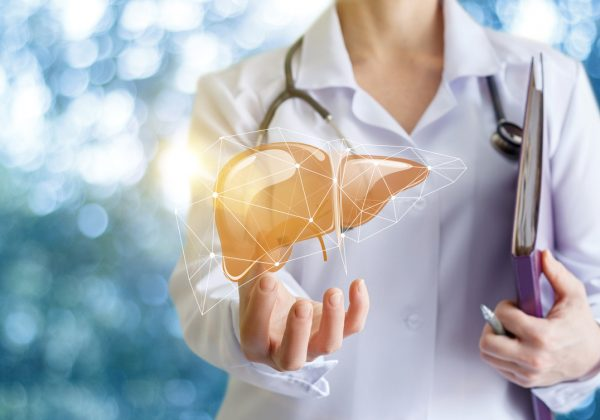 Doctor with futuristic image of liver floating above hand