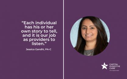 Headshot and quote by Jessica Gandhi, PA-C